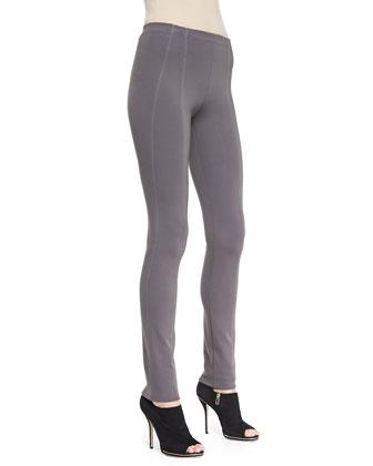 Pull-On Seamed Legging Pants, Slate