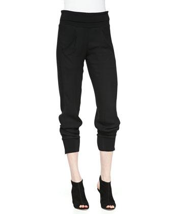 Rib-Waist Zip-Cuff Pants
