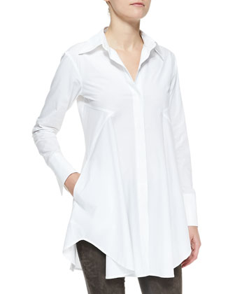 Easy Stretch Poplin Shirt Tunic, White