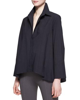 Long-Sleeve Button-Up Cotton Shirt, Black