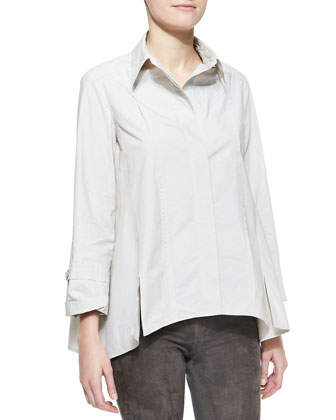 Long-Sleeve Button-Up Cotton Shirt, Dust