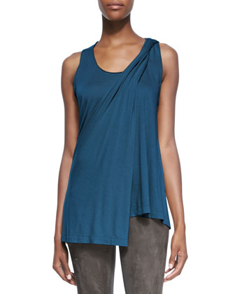 Sleeveless Top with Asymmetric Drape, Teal