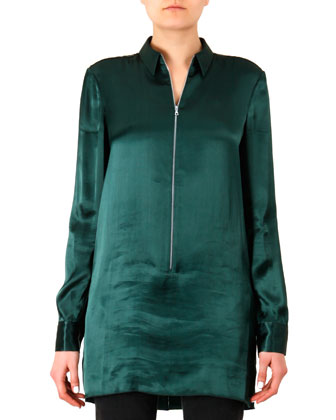 Satin Zip-Front Tunic Blouse