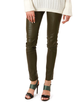 Skinny Leather Leggings, Moss Green