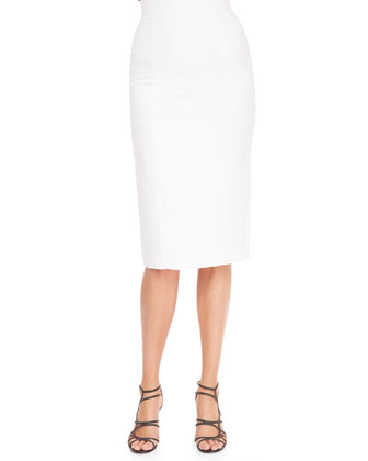 High-Waist Back-Slit Pencil Skirt, White