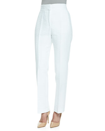 Textured High-Waist Slim-Leg Trousers