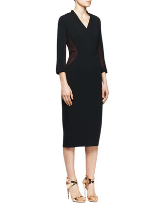 3/4-Sleeve V-Neck Lace Inset Midi Sheath Dress, Black/Red