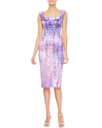 Draped Collar-Print Tank Dress, Purple/Multi