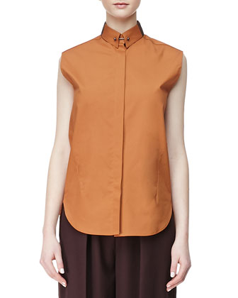 Sleeveless Poplin Blouse, Cinnamon