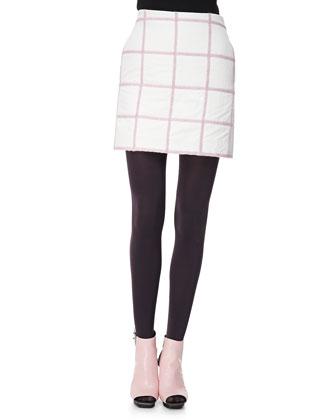 Grid Miniskirt, White/Pink
