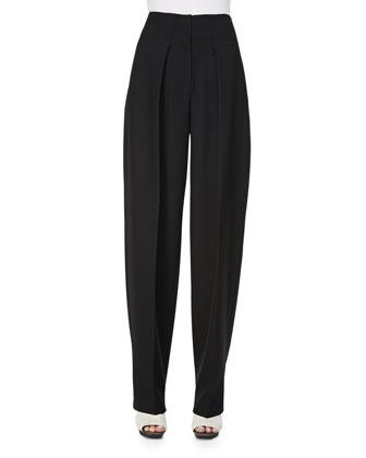 Wool Wide-Leg Trousers, Black