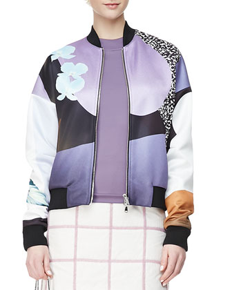 Dropped-Shoulder Printed Bomber Jacket, Purple/Multi