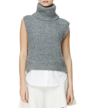 Sleeveless High-Low Turtleneck Sweater, Blue