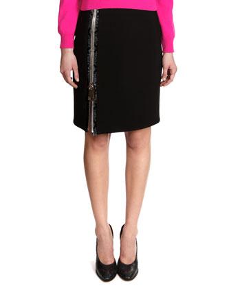 Snakeskin Print-Trim Big-Zip Jersey Skirt