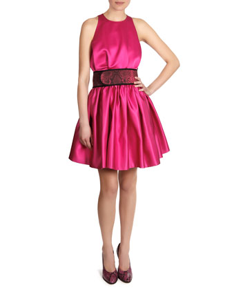 Satin Sleeveless Cinch-Waist Dress