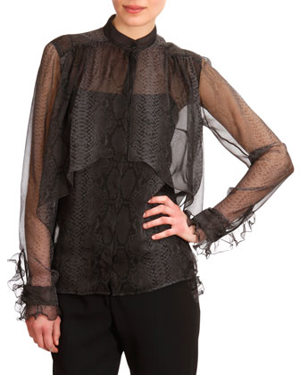 Georgette Snakeskin-Print Frilly Layered Blouse
