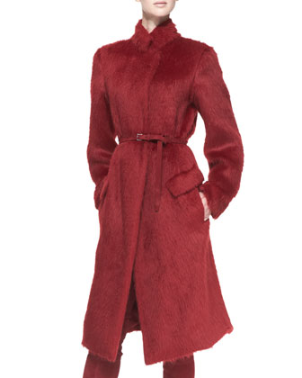 Belted Alpaca-Blend Military Coat, Ruby Red