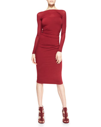 Long-Sleeve Low-Back Sheath Dress, Ruby Red