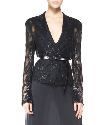 Belted Long-Sleeve Sequined Jacket, Black