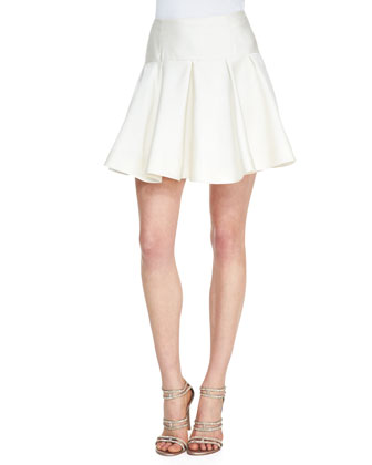 Drop-Waist Flounce Skirt, Ivory