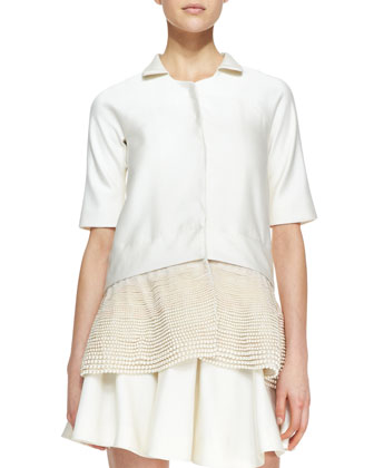 Short-Sleeve Jacket with Faux Pearl Peplum, Ivory