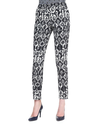 Catherine Geometric-Print Pants, Black/Ivory
