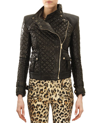 Quilted Leather Moto Jacket, Noir (Black)