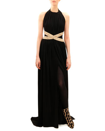 Beaded-Waist Sleeveless Jersey Gown