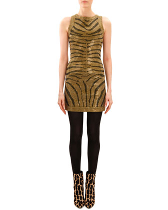 Beaded Tiger-Stripe Sleeveless Dress