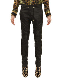 Drawstring Waist Leather Moto Pants, Noir (Black)