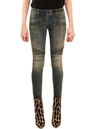Skinny Moto Jeans, Faded Blue