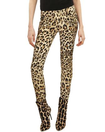 Leopard-Print Moto Pants, Black/Beige/Camel