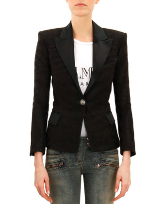 One-Button Satin Trimmed Jacket, Noir (Black)