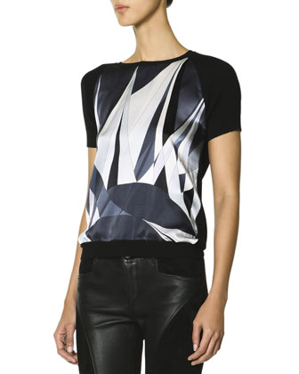 Short-Sleeve Printed Front Top, Black/White