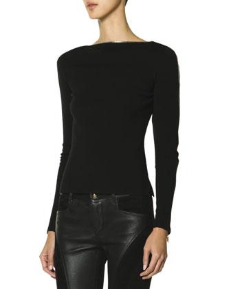 Long-Sleeve Zipper-Trim Neckline & Sleeve Top, Black