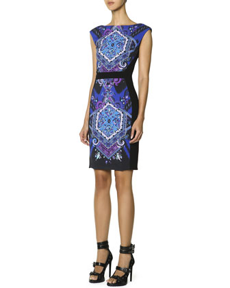 Cap-Sleeve Printed-Front Sheath Dress, Multicolor