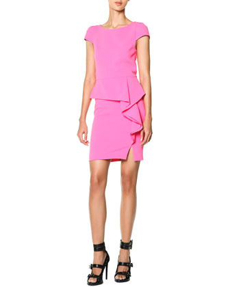 Cap-Sleeve Side-Cascade Ruffle Sheath Dress, Rosa Dolce (Sweet Pink)