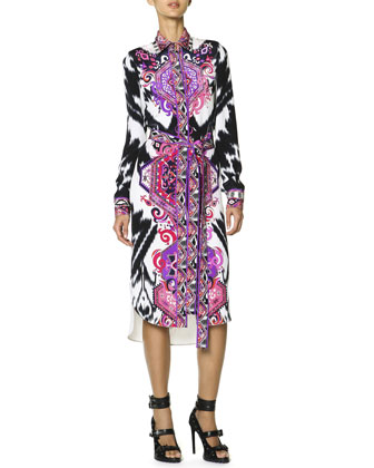 Long-Sleeve Printed Silk Shirtdress with Self Belt, Multicolor