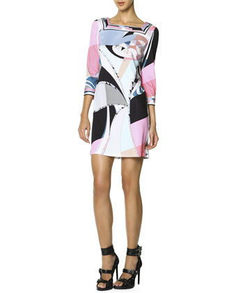 3/4-Sleeve Printed Shift Dress, Multicolor