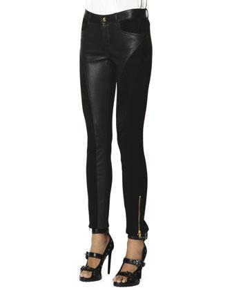 Leather Panel Zip Ankle Leggings, Nero (Black)