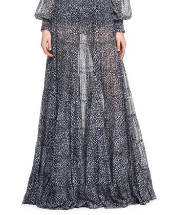 Tweed-Print Chiffon Skirt