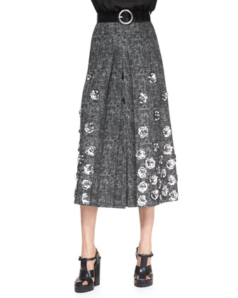 Rose-Applique Wool Skirt