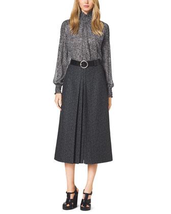 Tweed-Print Chiffon Blouse