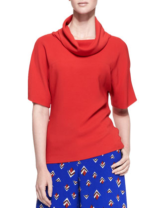 Short-Sleeve Knit Loose-Turtleneck Top, Lava Red