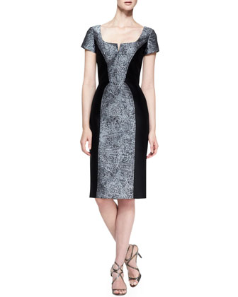 Short-Sleeve Broadtail Jacquard Dress, Gray/Black