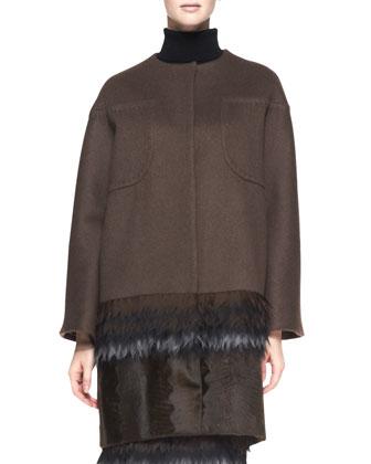 Cashmere Coat with Fringe Silk and Lamb Fur Hem, Maroon