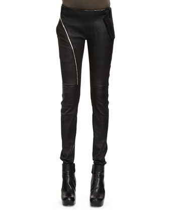 Air Cut Woven Leather-Cotton Leggings