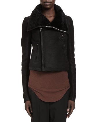 Shearling Fur Biker Jacket