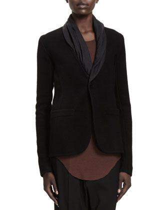 Leather-Collar Long Tuxedo Blazer