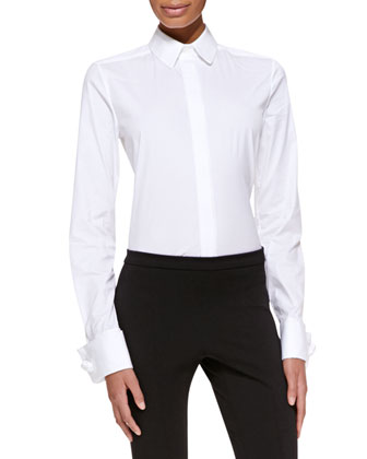 Long-Sleeve Collared Poplin Blouse, White